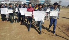 Islamia College students protest against summoning of Mirwaiz by NIA