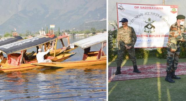 Army Conducts Shikara Race At Dal Lake