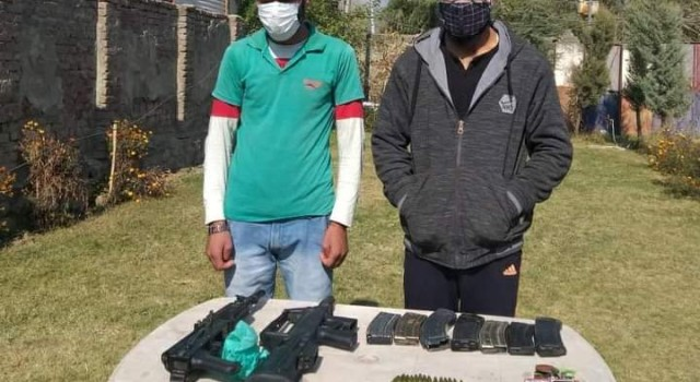 Handwara Police arrested 02 militant Associates ; Arms & Ammunition recovered