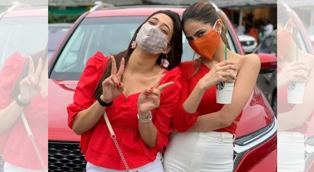 Mere Dad Ki Dulhan actress Shweta Tiwari twins in hot red attire with daughter Palak Tiwari
