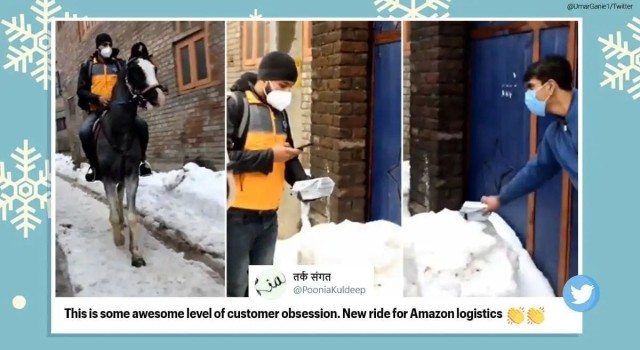 Amazon delivery person rides horse in snow-covered Srinagar to drop off order