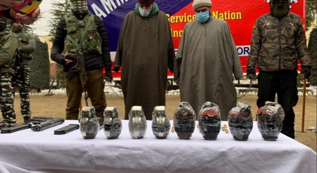 Two militant associates arrested along with arms, ammunition in Bandipora, Sangrama: Police